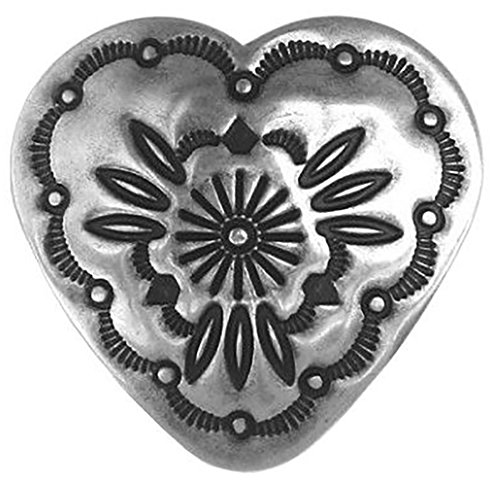 "Fancy & Decorative {32mm w/ Back Hole} 1 Pack of Extra Large Size ""Popper Shank"" Sewing & Craft Buttons Made of Genuine Metal w/ Simple Western Heart Shaped Concho w/ Flower Design {Silver & Black} (Custom Conchos)"