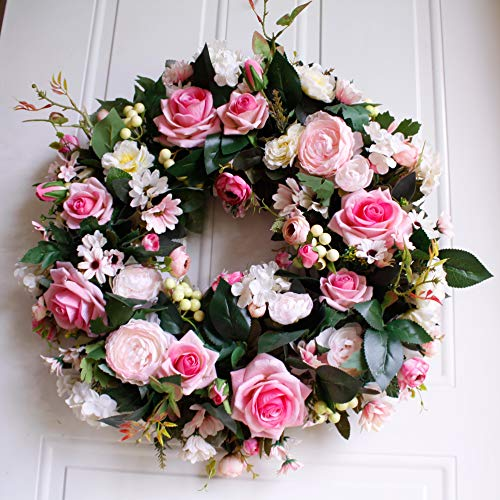 "Dseap Wreath - 21"", Rose: Large Rustic Farmhouse Decorative Artificial Flower Wreath, Faux Floral Wreath for Front Door Window Wedding Outdoor Indoor - Round, ()"