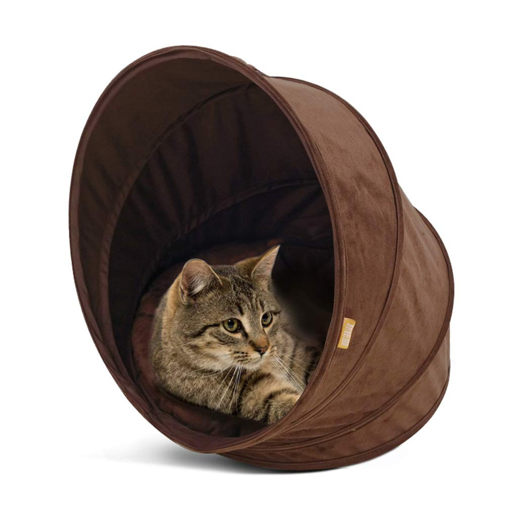Brown Closed Spiral Cat Nest, Warm Indoor Cat Bed House Cozy Cat Sleeping Bag Pet Tent Pet Cave with Independent Mat,Brown