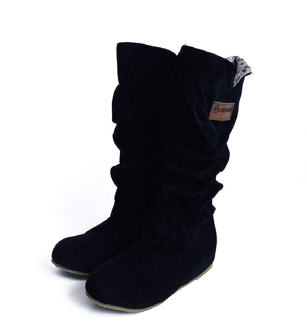 Chaussures femme Bottes Femme Binggong Mode d'hiver Equitation Cuisse Haute Hiver Chaussures Mode Grand Pirate Botte Talon Bas Bout Rond Plat Fourrure d'hiver Bottines
