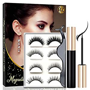Magnetic Eyelashes With Eyeliner, Magnetic Eyeliner And Lashes, Magnetic Eyelash, Magnetic False Lashes with Magnetic Eyeliners Kit Easy To Wear (4-Pairs)