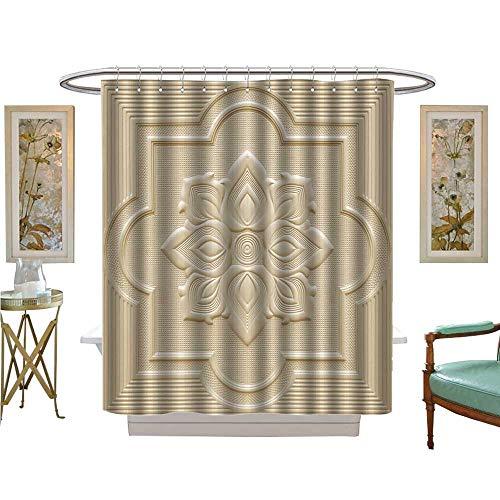 (luvoluxhome Shower Curtains 3D Digital Printing Patterns ceil Gypsum Sheet White Flowers Bathroom Decor Sets with Hooks W48 x L72)