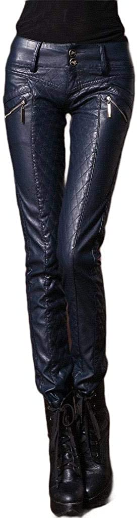 HEFASDM Womens Fleece Quilted Jeggings Bodycon Faux Leather Pull-on Pants