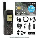 BlueCosmo Iridium 9555 Satellite Phone & 150 Minute 60 Day Global Prepaid SIM Card - Voice, SMS Text Messaging - Rollover - Online Activation - 24/7