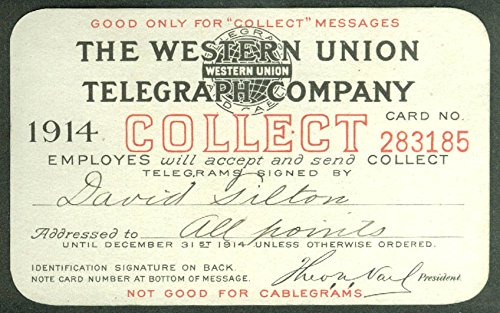 Western Union Telegraph Collect Telegram Credit Card 1914