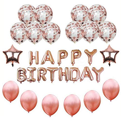 Rose Gold Happy Birthday Balloons, 16 Foil Happy Birthday Letters | 18 Foil Star Balloons | 12 Latex Balloons (Confetti and Solid Latex) with White Ribbon for All Ages Birthday Party Supplies