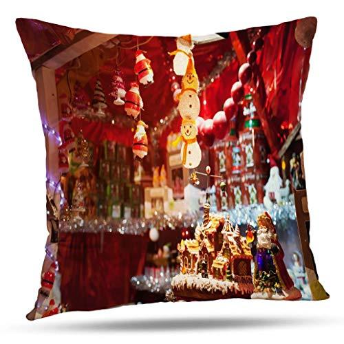 Kutita Christmas Decorative Pillow Covers, Christmas Market France Cute Snowman and Lights Vienna Ball Beautiful Throw Pillow Decor Bedroom Livingroom Sofa 18X18 inch