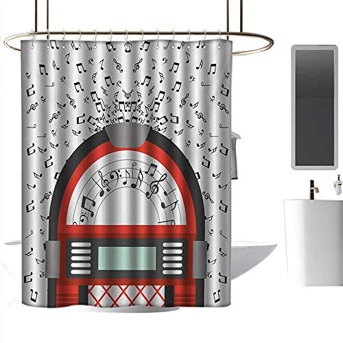 (alisoso Christmas Shower Curtain Jukebox,Cartoon Party Music Antique Old Vintage Retro Box with Notes Artwork,Red Black Grey and White Bathroom Curtain with 12 Hooks W108 x L72)