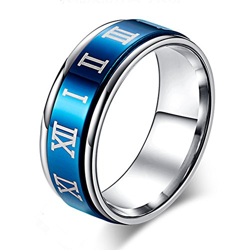 JAJAFOOK 8MM Unisex Stainless Steel Spinner Ring,Roman Numerals Spins Ring for ()