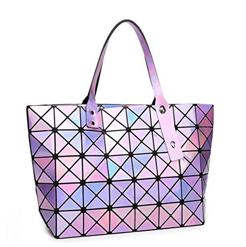 láser 7 hombro Sac de compras a Bolsas 8 de cuadros Bolsa Totes Lavender Bolsas de plegables Bolso Silver color de Bolsa mujer wBfY7HTf