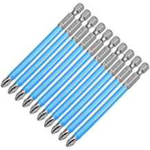 "uxcell 10pcs 90mm Long 1/4"" Hex Shank 6PH2 Anti-slip Phillips Screwdriver Bits S2 High Alloy Steel"