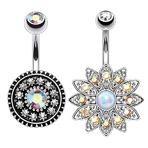 BodyJ4You Vintage Belly Button Ring Shield Aurora Crystal Aurora Jeweled Piercing Kit (Navel Shield)