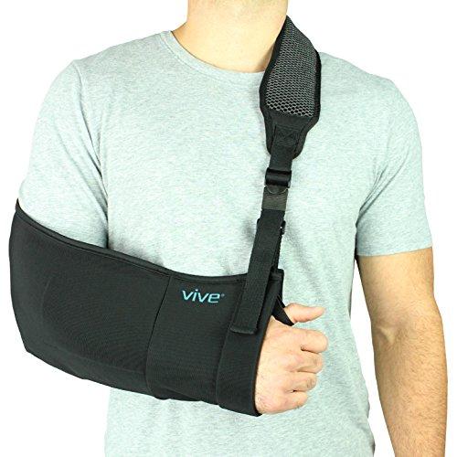 Arm Sling by Vive - Medical Sling for Broken & Fractured Bones - Adjustable Arm, Shoulder & Rotator Cuff Support - For Subluxation, Dislocation, Sprains, Strains and Tears Left Facing Arm