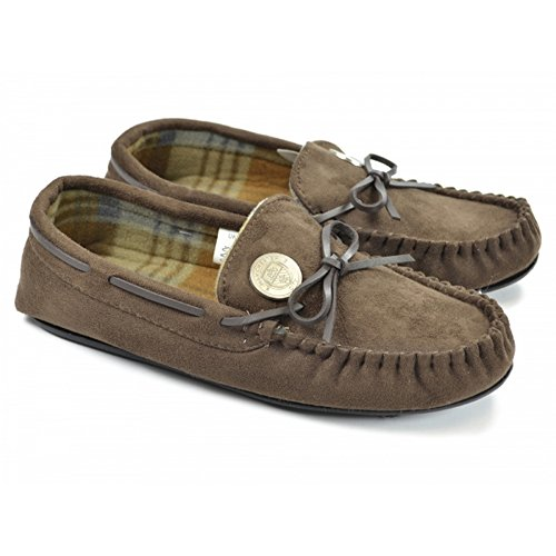 Manchester City Fc Official Mens Soccer Bow Moccasin Slippers Chocolate