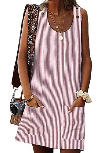 Dearlove Womens Sundresses Striped Print Sleeveless Crew Neck Button Loose Casual Summer Beach Mini Dress Shirts Tunic with Pockets Pink XL