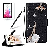 Image of Glitter Leather Case Cover for LG G6,Girlyard Shiny Bling DIY Crystal Diamond Magnetic Closure Flip Case with [Wrist Strap] with [Card Slots] Stand Function Shockproof Wallet Case Cover for LG G6
