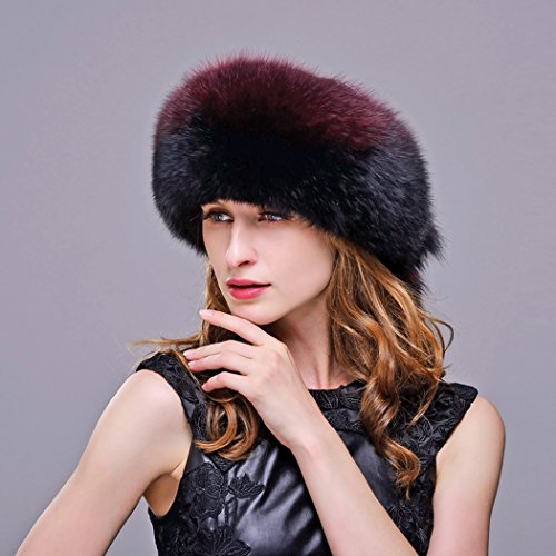 URSFUR Fox Fur Roller Hat with Leather Top and Tails (One Size Fits All, Black & Red) by URSFUR (Image #2)