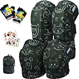 Innovative Soft Kids Knee and Elbow Pads with Bike Gloves | Toddler Protective Gear Set w/Mesh Bag | Roller-Skating, Skateboard, Bike for Children Boys Girls (Dogs & Cats, Small (2-4 Years))