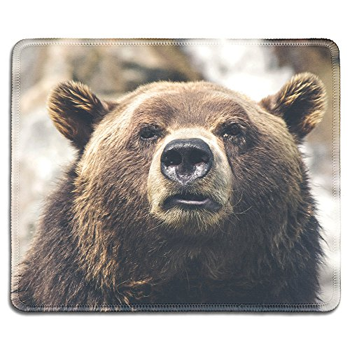 dealzEpic - Art Mousepad - Natural Rubber Mouse Pad Printed with A Bear in the Wild - Stitched Edges - 9.5x7.9 inches Custom Printed Mouse Pad