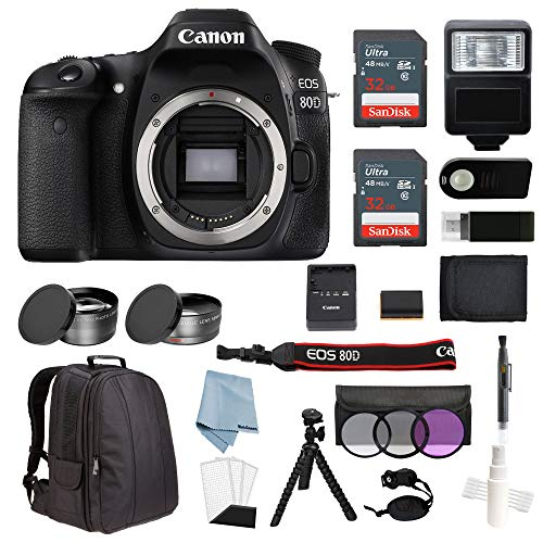 Canon EOS Rebel 80D Body Only Bundle + Advanced Accessory Kit – Including Everything You Need to Get Started