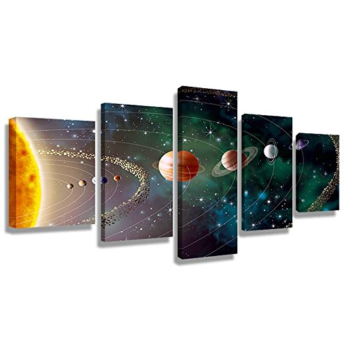 Vmar Art Framed 5 Piece Canvas Prints Wall Art of Solar System Planets Sciences Picture Photo Paintings for Children Bedroom Living Room Decoration Posters (24