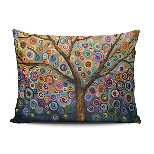 SALLEING Custom Pretty Cute Colorful Painting Trees Decorative Pillowcase Pillowslip Throw Pillow Case Cover Zippered One Side Printed 12x20 Inches
