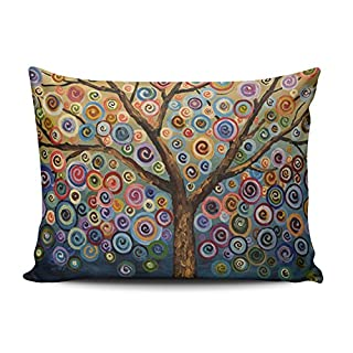 SALLEING Modern Beauty Colorful Painting Trees One Side Decorative Pillowcase Queen Zippered Throw Pillow Case Cushion Cover 20x30 inches