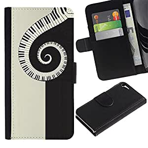 For Apple iPhone 5 / iPhone 5S,S-type® Notes Piano Art Black Beige Pianist - Dibujo PU billetera de cuero Funda Case Caso de la piel de la bolsa protectora