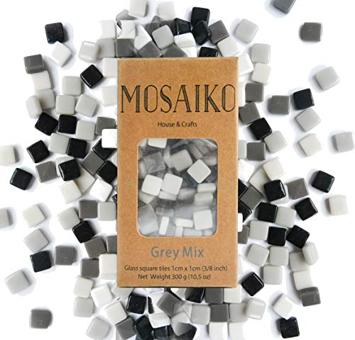 MOSAIKO Gray Mix 300g (10.5oz) – Mosaic Glass Tiles for Crafts – Premium Quality Stained Square Pieces 1cm x 1cm (3/8…