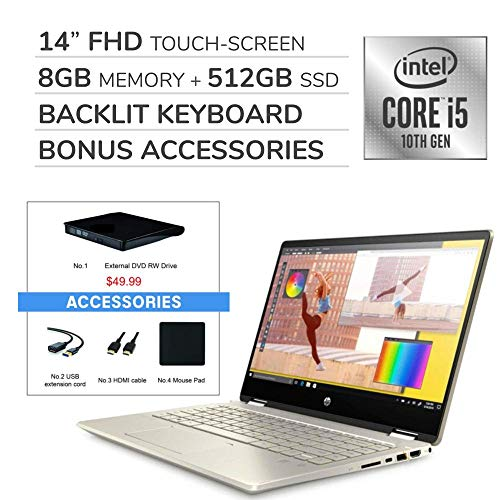 "HP Pavilion x360 2-in-1 2020 14"" FHD Touchscreen Laptop,Intel i5-10210U 1.60 GHz,8GB RAM,512GB SSD, Backlit Keyboard,Wi-Fi,Bluetooth, Webcam, HDMI,Win 10,VAATE External DVD+ Accessories"