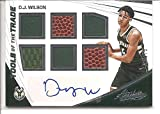 D. J. Wilson Milwaukee Bucks 2017-18 Panini Absolute Tools of the Trade Autograph / Multi Jersey Memorabilia Basketball Card #53/75