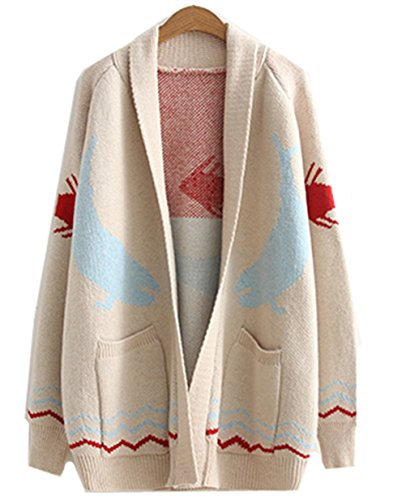 WoowTry Women's Fashion Fish Printed Cardigan Sweater Long Sweaters Coat Cream One Size