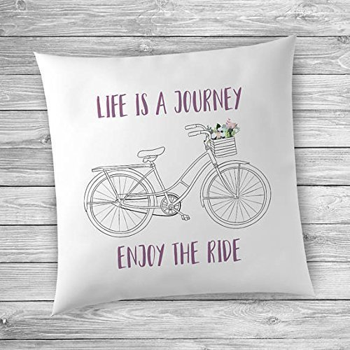 Bicycle Pillowcase, Bike Pillowcase, Bicycle Pillow Cover, Bicycle Decor for the Home, Life is a Journey Enjoy the Ride, Bike Pillow Cover, Bicycle Decor
