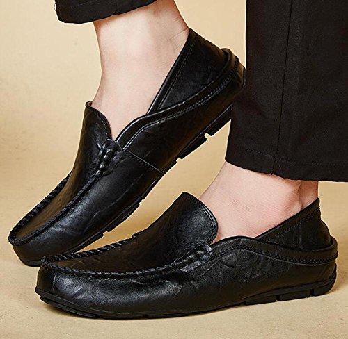 Männer Slip-On Oxford Schuhe Hosen Schuhe Breathable Casual Loafer Leder Schuhe Fahrschuhe Pedal , black , 39