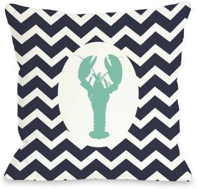 One Bella Casa Chevron Lobster Throw Pillow by OBC, 26 x 26 , Navy White Aqua