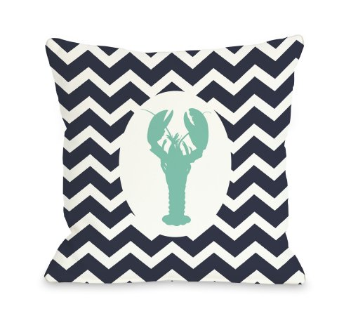 One Bella Casa Chevron Lobster Throw Pillow by OBC, 18 x 18 , Navy White Aqua
