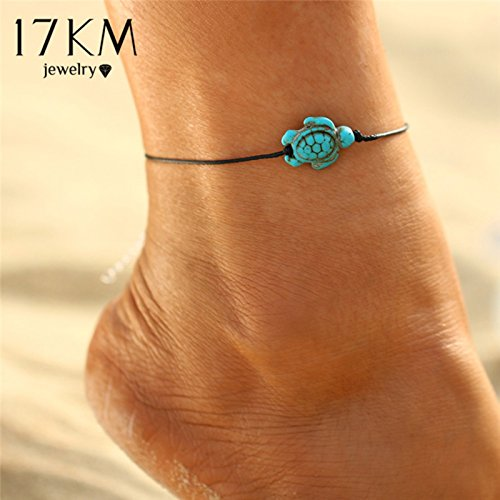 Cut Vintage Pendant - ptk12 Fashion Brand Vintage Cut Tortoise Pendant Anklet Beach Foot Leather Chain 2017 New Summer Anklets Foot Jewelry Gift