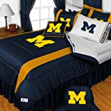 NCAA Michigan Wolverines King Comforter Pillowcases Set College Football Team Logo Bed