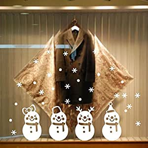 Christmas Wall Sticker,Woopower 4219cm Xmas Snow Ball Removable Home Vinyl Window Wall Decal