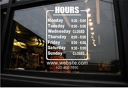 Amazoncom StickerLoaf Brand STORE HOURS NAME CUSTOM WINDOW DECAL - Window decals for business hours