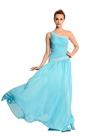 Amadeo One Shoulder Draped Beading A Line Prom Dresses Long LF047 (6)