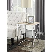 Convenience Concepts Belaire End Table, Chrome/Weathered White