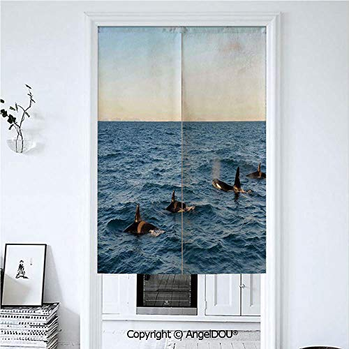 AngelDOU Whale Decor Summer Automatic Closing Curtains Valances A Real Photo Image of Four Killer Whales Coming Out of The Sea Artwork Door Screen Partition Curtain. 33.5x59 -
