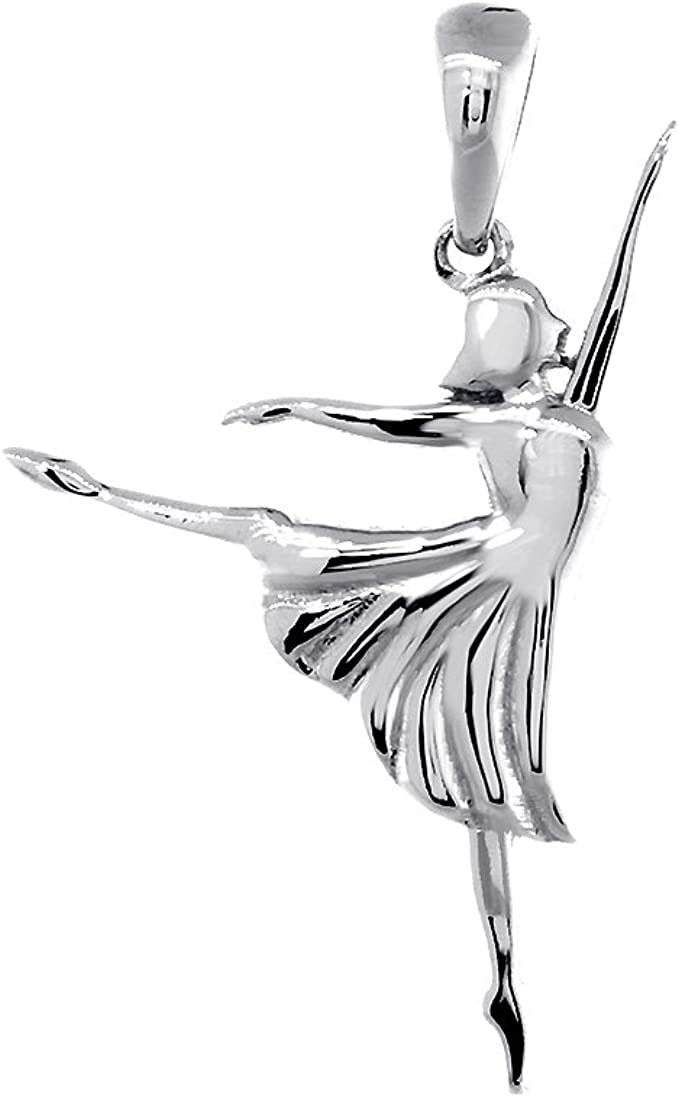 925 Sterling Silver 3-D Ice Skate Polished Charm Pendant 12mm x 12mm