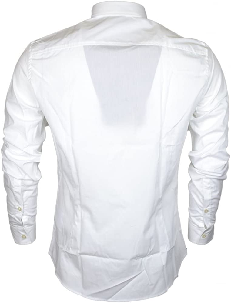 Cavalli Class Popeline Embroidered Slim Fit White Cotton Shirt
