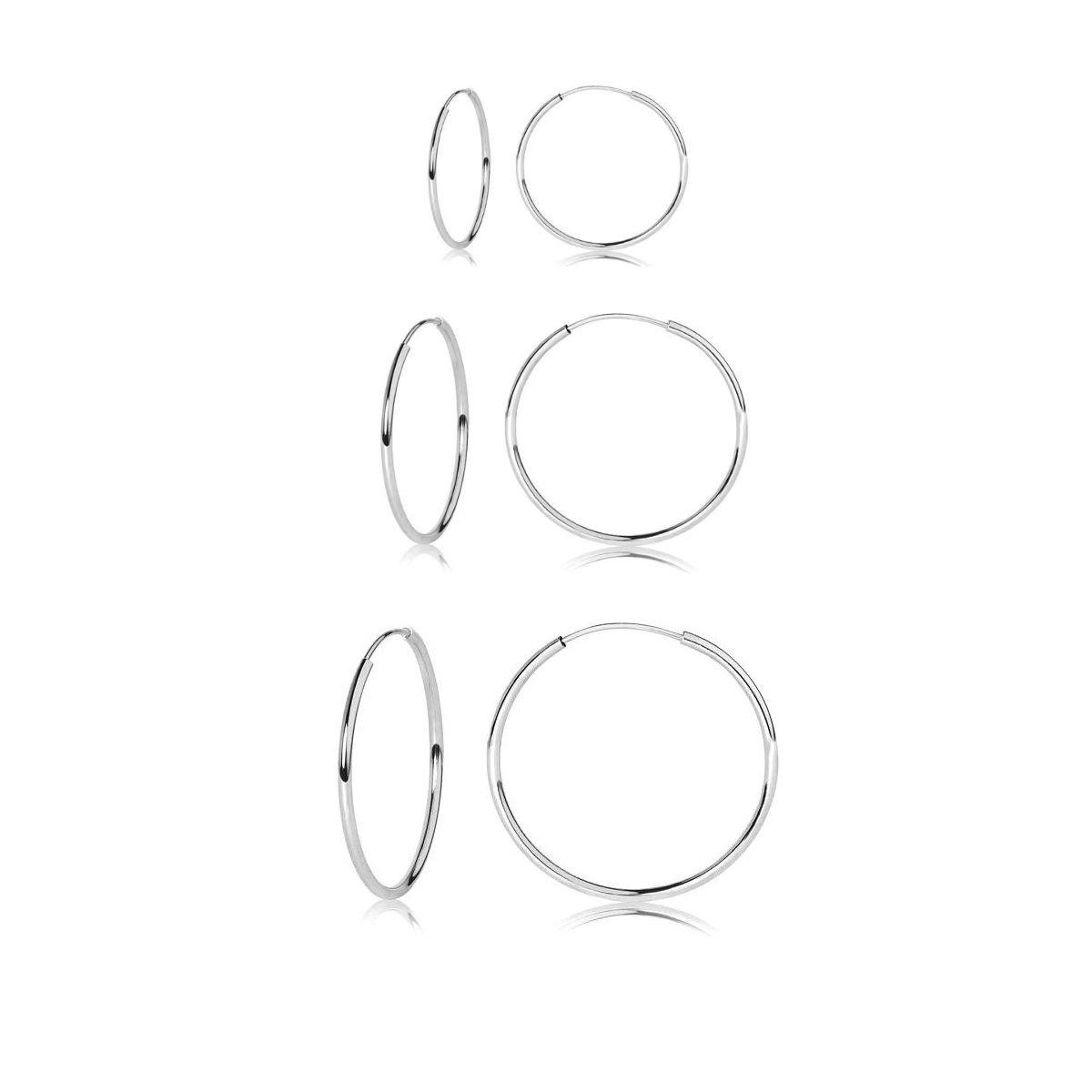Sterling Silver Endless Round Unisex Hoop Earrings, Set of 3 Pairs 18mm 20mm 25mm