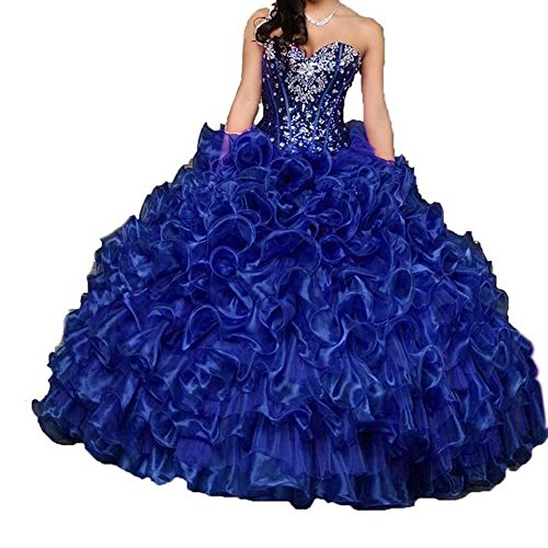 Diandiai Women's Sweetheart Beaded Quinceanera Dresses Crystal Organza Ball Gown Prom Dress Royalblue 8
