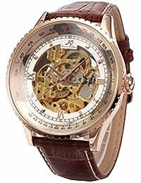 KS Royal Carving Skeleton Men's Rose Gold Case Auto Mechanical Brown Leather Watch KS113