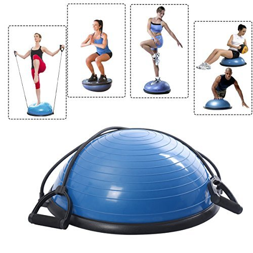 Blue Half Ball Balance Trainer Yoga Fitness Pilates Strength Exercise Workout with Resistance Bands
