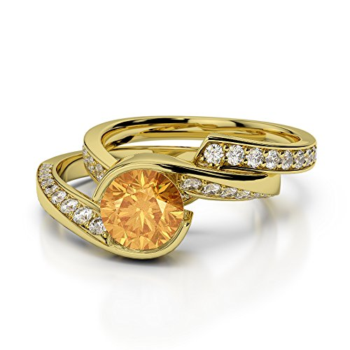 Or jaune 18carats 1CT G-H/VS sertie de diamants ronds Cut Citrine et mariée Bague de fiançailles et ensemble de Agdr-2019